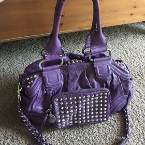 Guess by Marciano purple studded bag